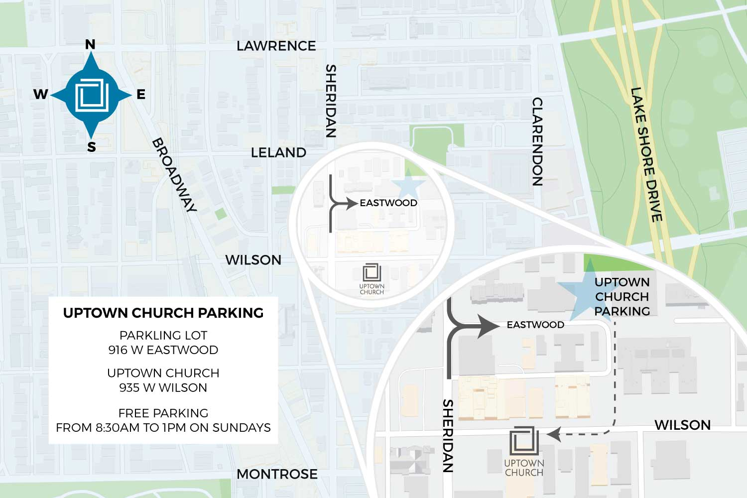 Uptown Church parking lot map